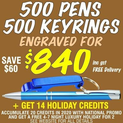 500 Slim Trade Pens & 500 Bottle Opener Keyrings Engraved for $840 FREE DELIVERY