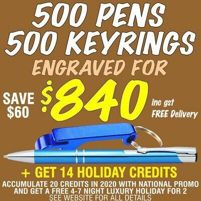 500 Slim Trade Pens & 500 Bottle Opener Keyrings Engraved for $840 FREE DELIVERY