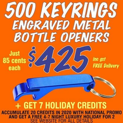 500 Keyring Bottle Openers for $425 with FREE DELIVERY