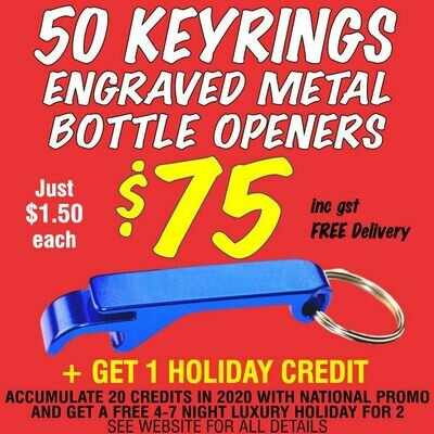 50 Keyring Bottle Openers for $75 with FREE DELIVERY