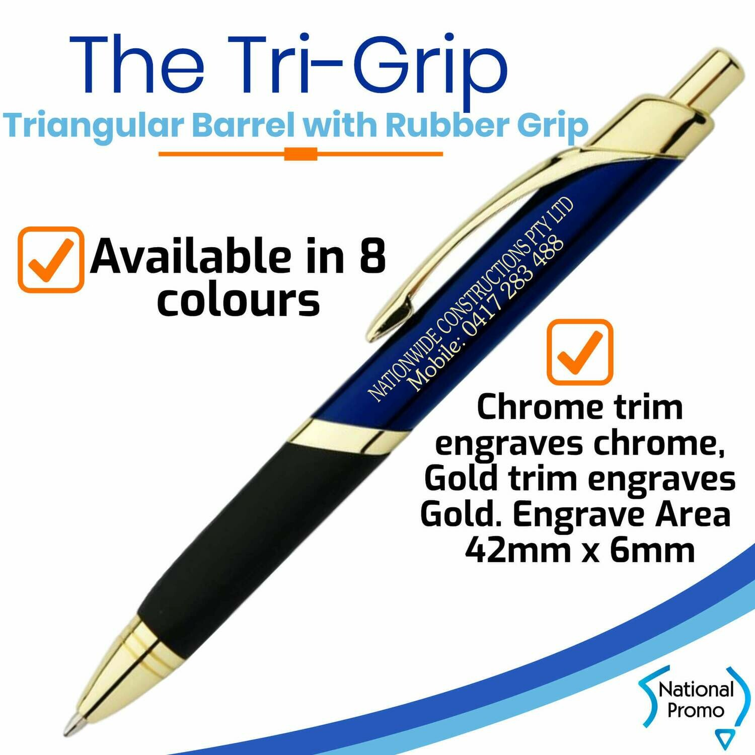 TRILOGY Tri-Grip Metal Pen - FREE DELIVERY
