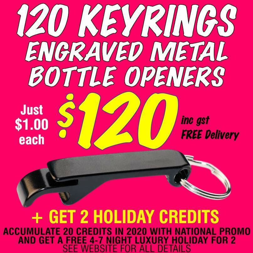 120 Keyring Bottle Openers for $120 with FREE DELIVERY