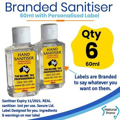 Qty of 6 x 60ml Hand Sanitiser with Personalised Labels