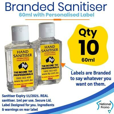 Qty of 10 x 60ml Hand Sanitiser with Personalised Labels