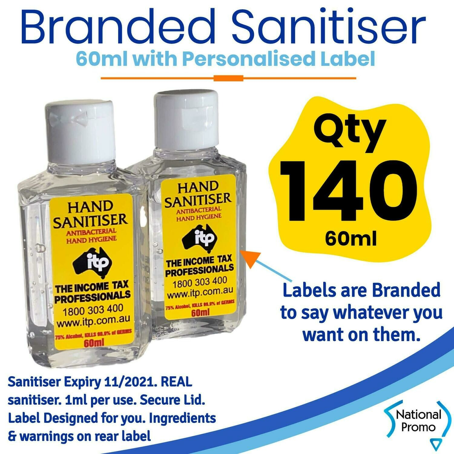 Qty of 140 x 60ml Hand Sanitiser with Personalised Labels