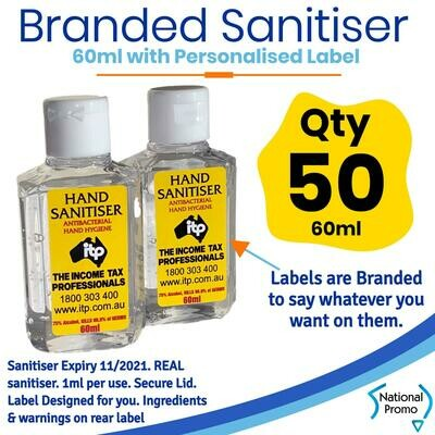 Qty of 50 x 60ml Hand Sanitiser with Personalised Labels