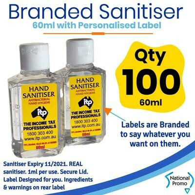 Qty of 100 x 60ml Hand Sanitiser with Personalised Labels