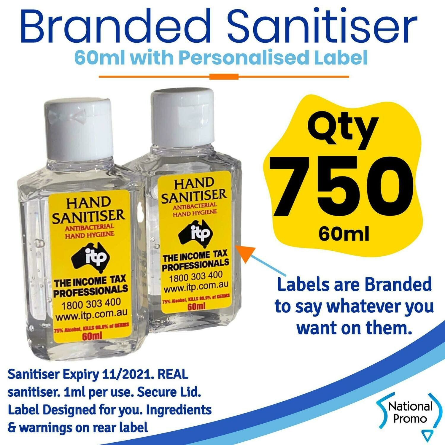 Qty of 750 x 60ml Hand Sanitiser with Personalised Labels