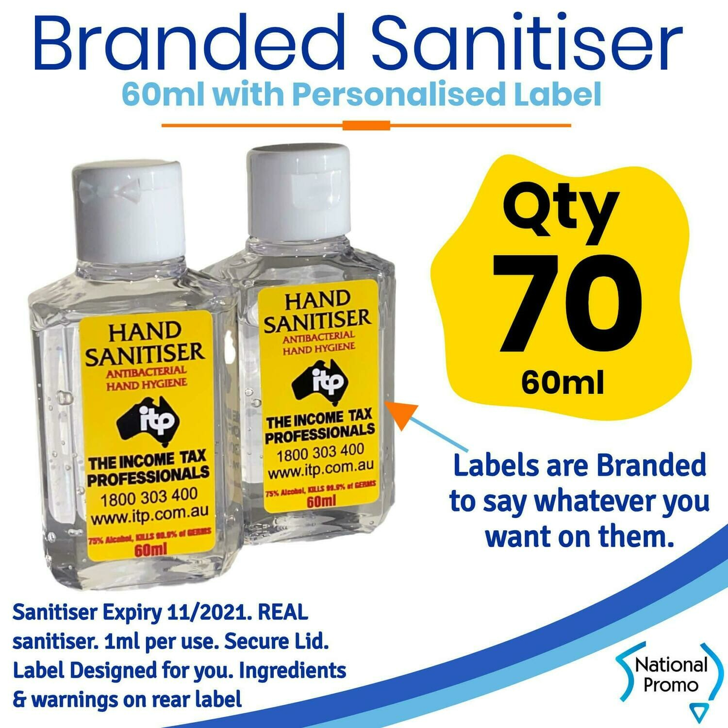 Qty of 70 x 60ml Hand Sanitiser with Personalised Labels