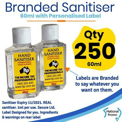 Qty of 250 x 60ml Hand Sanitiser with Personalised Labels