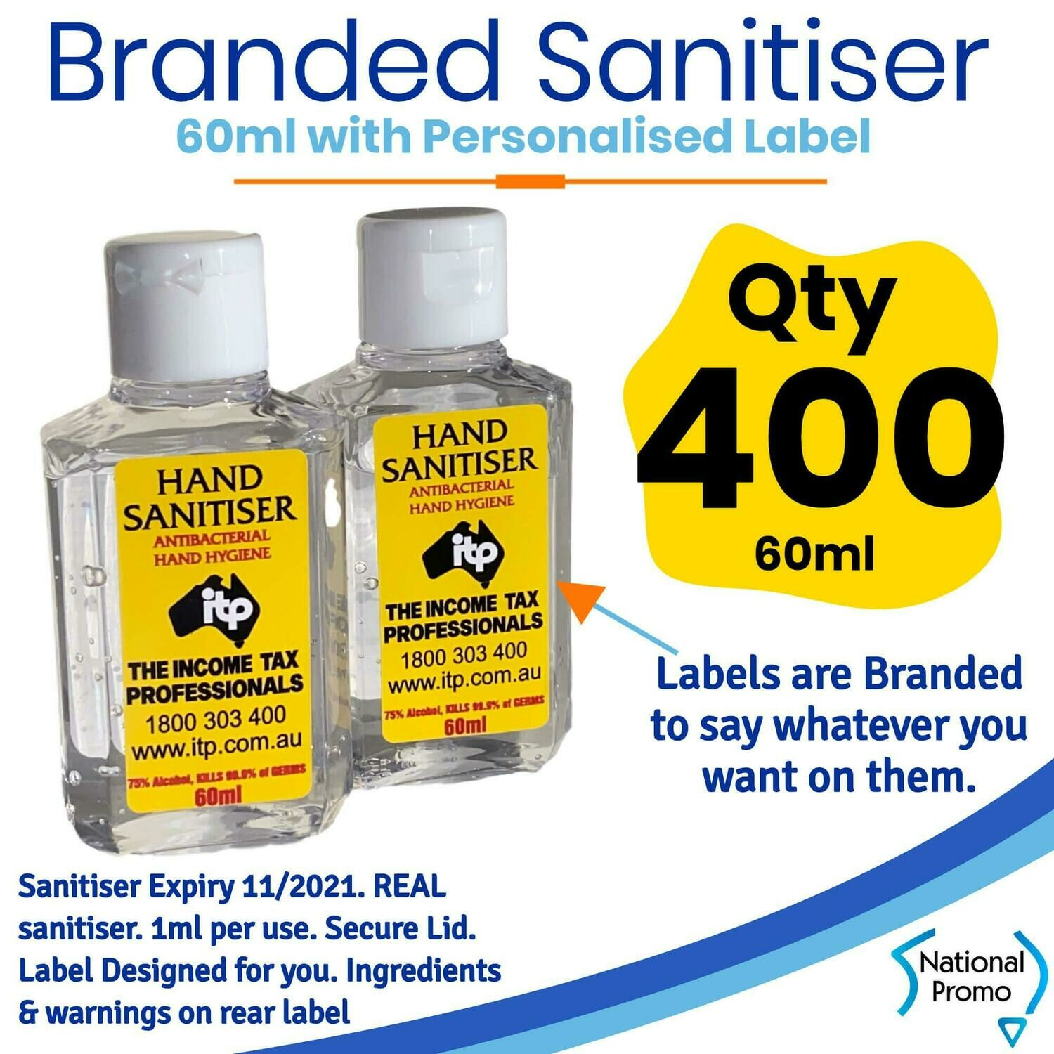 Qty of 400 x 60ml Hand Sanitiser with Personalised Labels