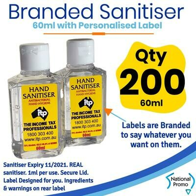 Qty of 200 x 60ml Hand Sanitiser with Personalised Labels