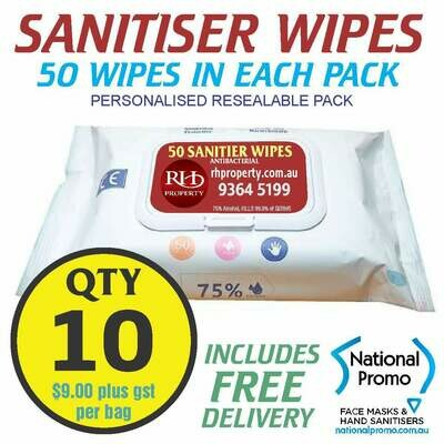 Qty 10 x 50 PACK HAND SANITISER WIPES - PERSONALISED LABEL