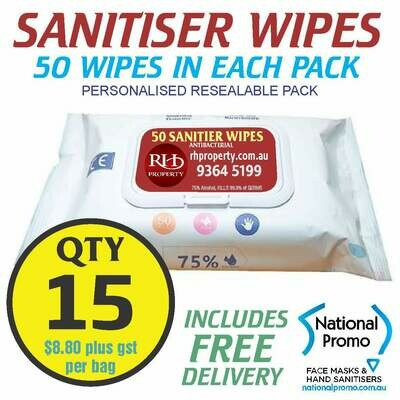 Qty 15 x 50 PACK HAND SANITISER WIPES - PERSONALISED LABEL