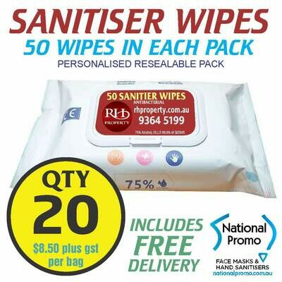 Qty 20 x 50 PACK HAND SANITISER WIPES - PERSONALISED LABEL