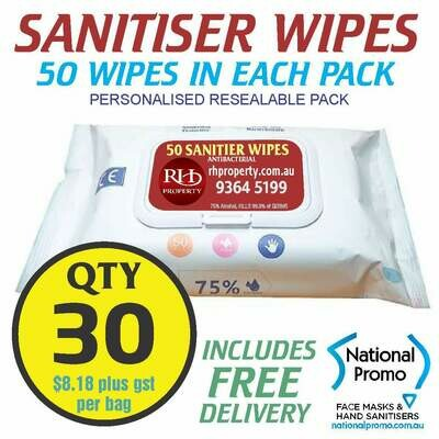 Qty 30 x 50 PACK HAND SANITISER WIPES - PERSONALISED LABEL