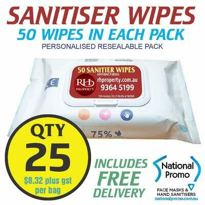 Qty 25 x 50 PACK HAND SANITISER WIPES - PERSONALISED LABEL