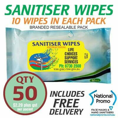 Qty 50 x 10 PACK of 75% ALCOHOL SANITISER WIPES - PERSONALISED LABEL