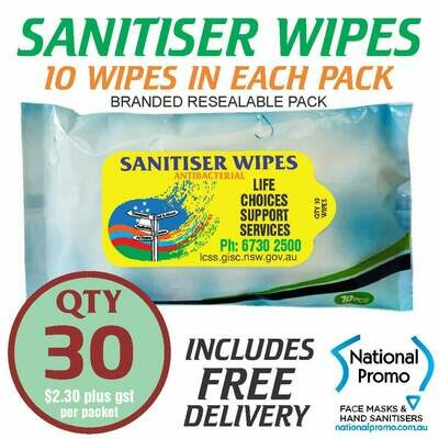 Qty 30 x 10 PACK of 75% ALCOHOL SANITISER WIPES - PERSONALISED LABEL