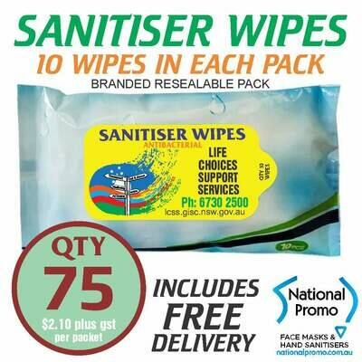 Qty 75 x 10 PACK of 75% ALCOHOL SANITISER WIPES - PERSONALISED LABEL