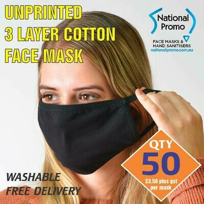 Qty 50 x 3 LAYER COTTON FACEMASK - UNPRINTED MASK