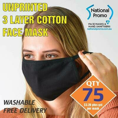 Qty 75 x 3 LAYER COTTON FACEMASK - UNPRINTED MASK