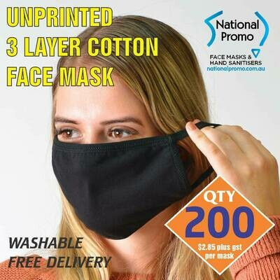 Qty 200 x 3 LAYER COTTON FACEMASK - UNPRINTED MASK