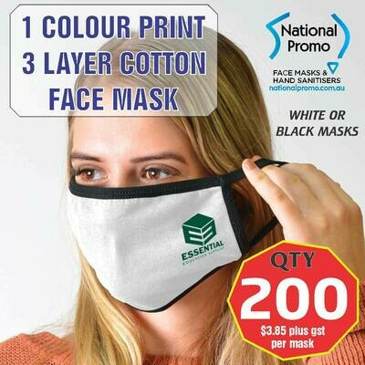 Qty 200 x 3 LAYER COTTON FACEMASK with 1 COLOUR PRINT