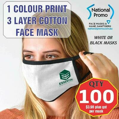Qty 100 x 3 LAYER COTTON FACEMASK with 1 COLOUR PRINT