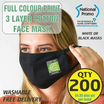 Qty 200 x 3 LAYER COTTON FACEMASK with FULL COLOUR PRINT