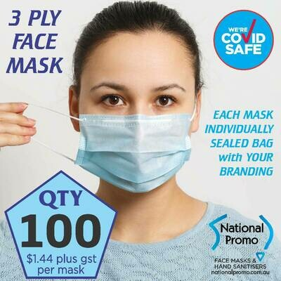 Qty 100 x 3 PLY BLUE FACE MASKS - FREE DELIVERY