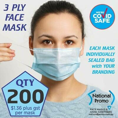 Qty 200 x 3 PLY BLUE FACE MASKS - FREE DELIVERY