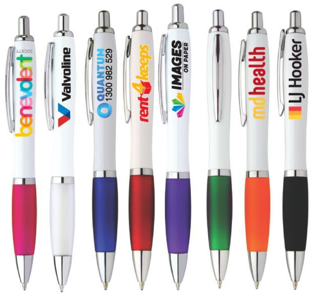 Coloured Rubber Grip Plastic Pen with FULL COLOUR PRINT