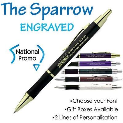 25 x Sparrow Engraved Metal Pen