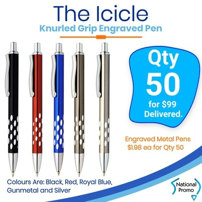 50 x ICICLE Engraved Metal Pen