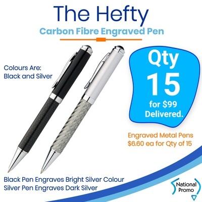 15 x HEFTY Carbon Fiber Engraved Metal Pen
