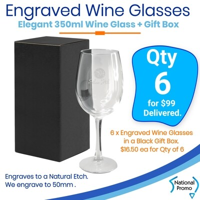 6x Wine Glasses with gift box