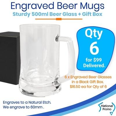 6x Beer Mugs with gift box