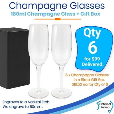6x Champagne Flute with gift box