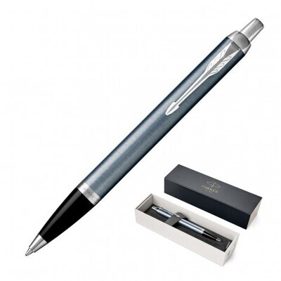 ENGRAVED PARKER PEN BLUE GREY STAINLESS