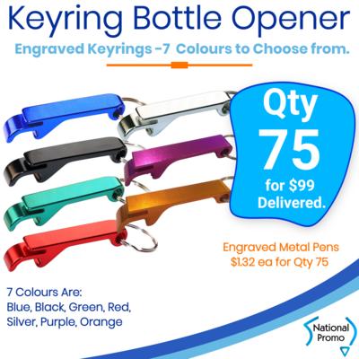 75 x KEYRING Engraved Bottle Openers