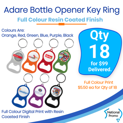 18x Printed Adare Bottle Opener Key Ring