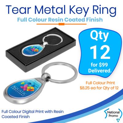 12x Tear Metal Key Rings