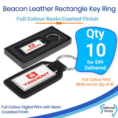 10x Beacon Leather Key Ring - Rectangle