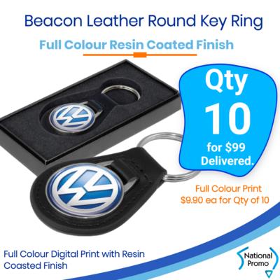 10x Beacon Leather Key Ring - Round