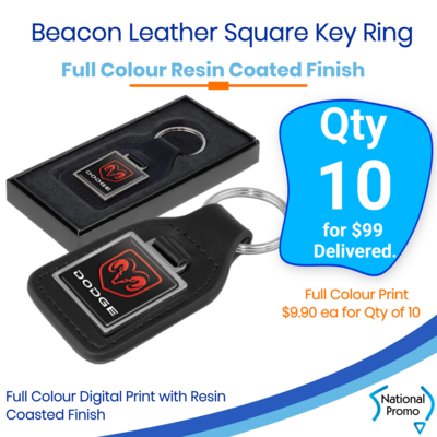 10x Beacon Leather Key Ring - Square