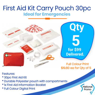 5x First Aid Kit Carry Pouch 30 pc