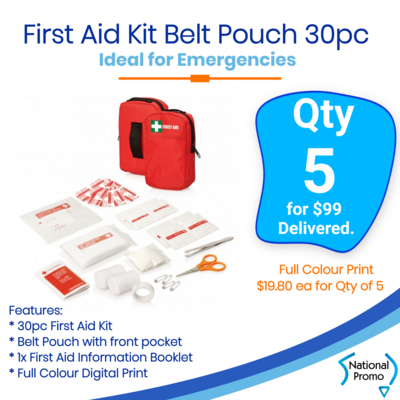 5x First Aid Kit Belt Pouch 30 pc