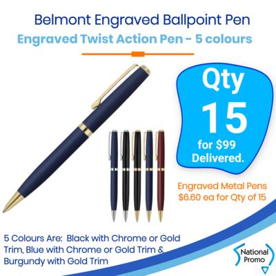 15x Engraved Belmont Ballpoint Pen