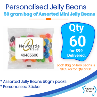 60 x personalised ASSORTED BAGS OF JELLY BEANS